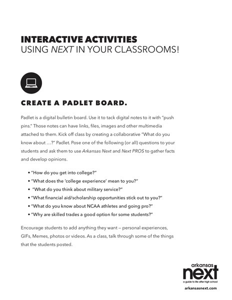 2018/2019 Arkansas NEXT Interactive Activities - Create a Padlet Board