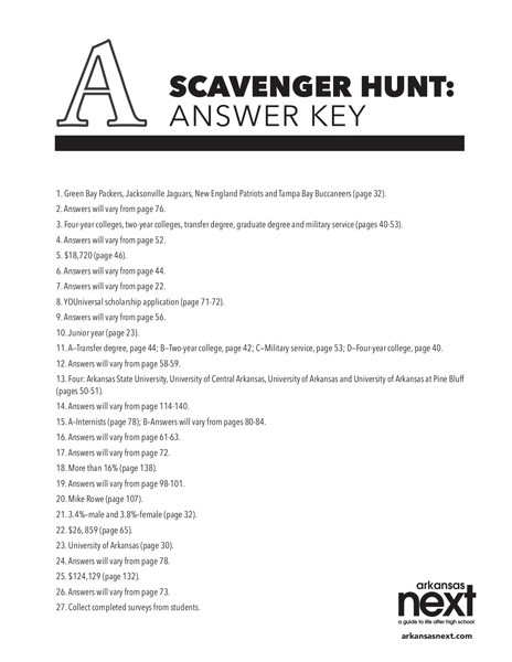 2018/2019 Arkansas NEXT Scavenger Hunt Answer Key